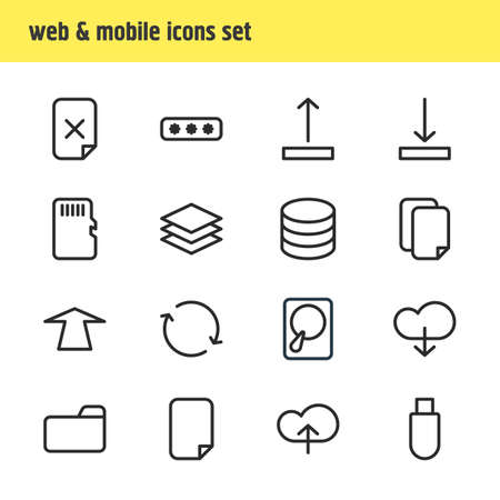retry: Vector Illustration Of 16 Archive Icons. Editable Pack Of Upward, Remove, Hdd And Other Elements.