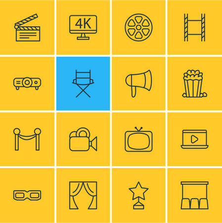Vector Illustration Of 16 Cinema Icons. Editable Pack Of Theater, Monitor, Snack And Other Elements.
