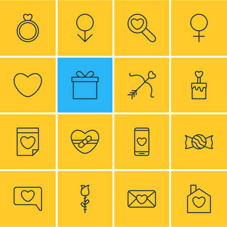 Vector Illustration Of 16 Love Icons. Editable Pack Of Invitation, Woman, Male And Other Elements. Illustration