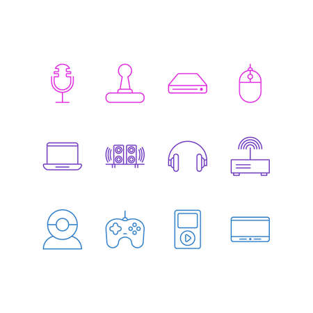 electronic components: Editable Pack Of Video Chat, Computer, Media Controller And Other Elements.  Vector Illustration Of 12 Device Icons.