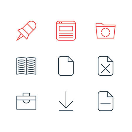 windows frame: Vector Illustration Of 9 Office Icons. Editable Pack Of Document, Remove, Textbook And Other Elements.