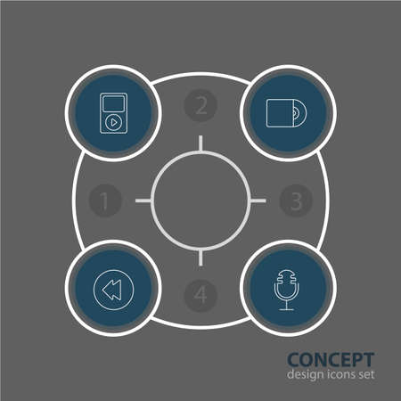 Vector Illustration Of 4 Melody Icons. Editable Pack Of Compact Disk, Mp3, Mike And Other Elements.