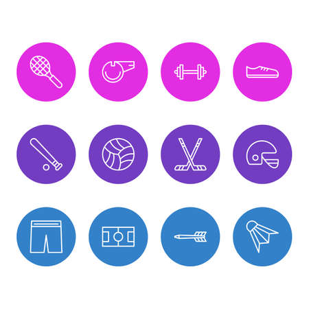 Vector Illustration Of 12 Fitness Icons. Editable Pack Of Hockey, Game, Barbell And Other Elements. Illustration