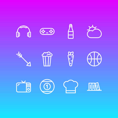 Vector Illustration Of 12 Leisure Icons. Editable Pack Of Television, Earmuff, Veggie And Other Elements. Illustration