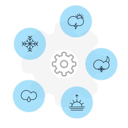 석양, 눈송이, 눈 및 다른 요소 편집 가능한 팩. 5 날씨 아이콘의 벡터 일러스트 레이 션.