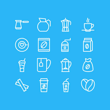 Editable Pack Of Bag, Coffeemaker, Saucer And Other Elements.  Vector Illustration Of 16 Java Icons. Ilustração