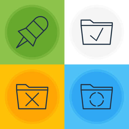 Editable Pack Of Delete, Note, Approve And Other Elements.  Vector Illustration Of 4 Bureau Icons.