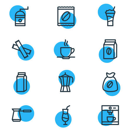 Editable Pack Of Coffeemaker, Mill, Mocha And Other Elements.  Vector Illustration Of 12 Coffee Icons.