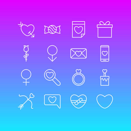 Editable Pack Of Engagement, Smartphone, Invitation And Other Elements.  Vector Illustration Of 16 Amour Icons.