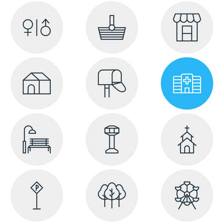 Editable Pack Of Clinic, Ferris Wheel, Basket And Other Elements.  Vector Illustration Of 12 Infrastructure Icons. Ilustração