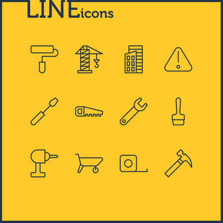 Editable Pack Of Hacksaw, Turn Screw, Roller And Other Elements.  Vector Illustration Of 12 Construction Icons. Illustration