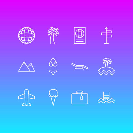 Editable Pack Of Island , Suitcase , Earth Elements.  Vector Illustration Of 12 Summer Icons.