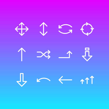 Editable Pack Of Randomize, Circle , Exchange Elements.  Vector Illustration Of 12 Direction Icons.