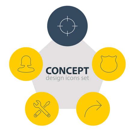 Illustration of 5 interface icons. Illustration