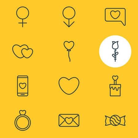 Pack modifiable de sucette, coeurs, décoration et autres éléments. Illustration vectorielle de 12 icônes d'amour.