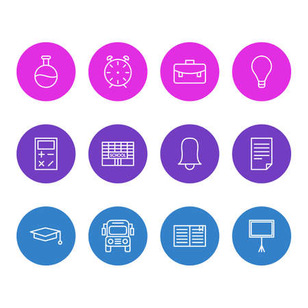 Editable Pack Of Clock, Bulb, Write Table And Other Elements.  Vector Illustration Of 12 Studies Icons.