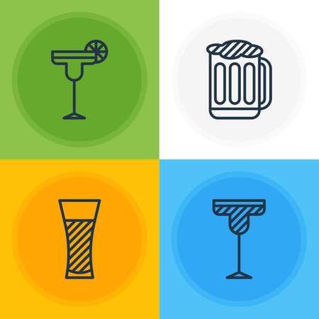 Editable Pack Of Draught, Lemonade, Cocktail And Other Elements.  Vector Illustration Of 4 Beverage Icons. Illustration