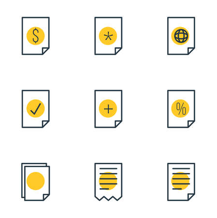 Editable Pack Of Folder, Document, Internet And Other Elements.  Vector Illustration Of 9 File Icons.