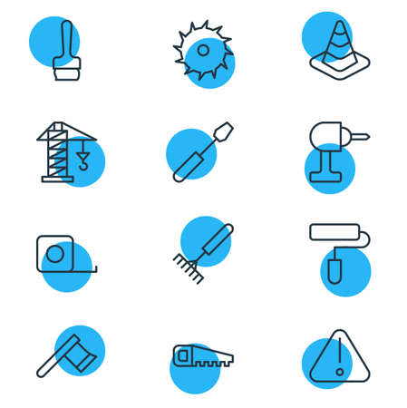 Editable Pack Of Turn Screw, Electric Screwdriver, Harrow And Other Elements.  Vector Illustration Of 12 Industry Icons. Illustration