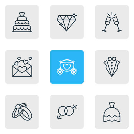 Editable Pack Of Wedding Gown, Chariot, Patisserie And Other Elements.  Vector Illustration Of 9 Engagement Icons.