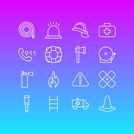 Editable Pack Of Hardhat, Siren, Taper And Other Elements.  Vector Illustration Of 16 Necessity Icons.