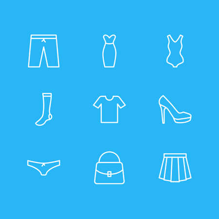 Editable Pack Of Sarafan, Swimming Trunks, Apparel And Other Elements.  Vector Illustration Of 9 Clothes Icons. 向量圖像