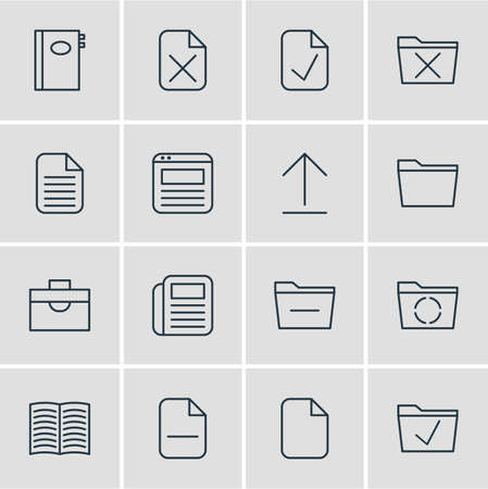 Editable Pack Of Document, Approve, Deleting Folder And Other Elements.  Vector Illustration Of 16 Office Icons. 向量圖像