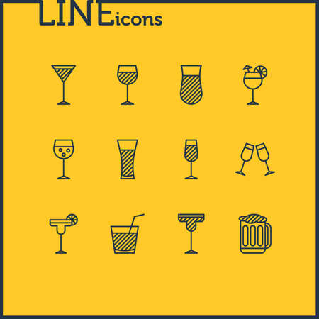 Editable Pack Of Drink, Beverage, Margarita And Other Elements.  Vector Illustration Of 12 Drinks Icons.