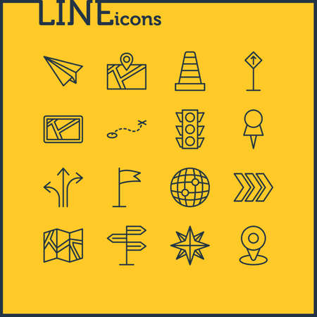Vector Illustration Of 16 Location Icons. Editable Pack Of Arrow, Stoplight, Location And Other Elements. Illustration