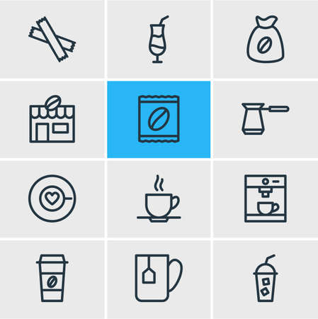 Editable Pack Of Sweetener, Soft Beverage, Mocha And Other Elements.  Vector Illustration Of 12 Java Icons. Ilustração