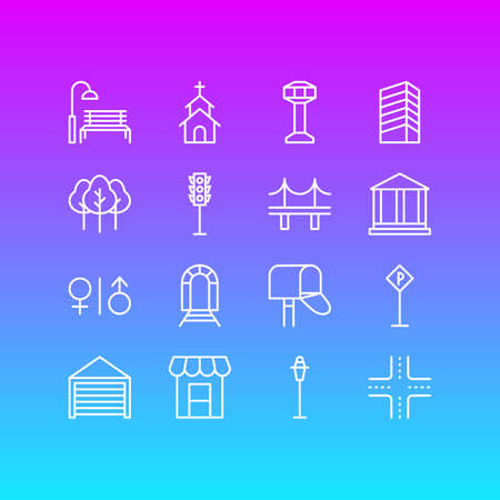 Editable Pack Of Golden Gate, Forest, Lamppost And Other Elements.  Vector Illustration Of 16 City Icons.