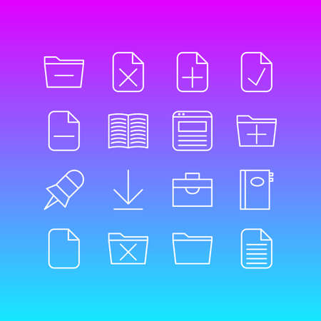 Editable Pack Of Page, Done, Document And Other Elements.  Vector Illustration Of 16 Bureau Icons.