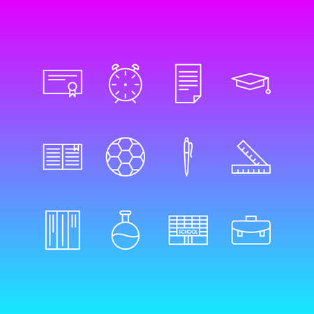 Editable Pack Of Tube, Bookshelf, Textbook And Other Elements.  Vector Illustration Of 12 Studies Icons.