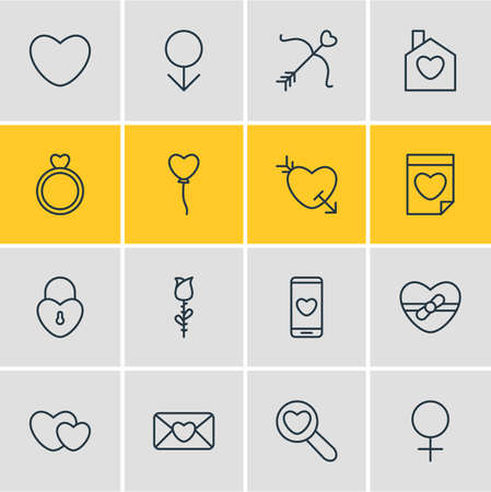 Editable Pack Of Smartphone, Arrow, Home And Other Elements.  Vector Illustration Of 16 Love Icons. Illustration