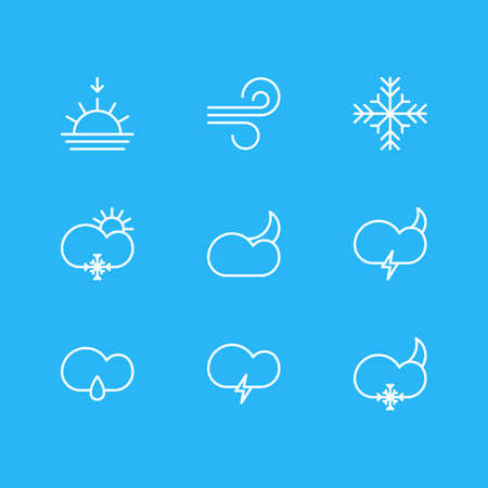 Editable Pack Of Moon Month, Drizzles, Breeze And Other Elements.  Vector Illustration Of 9 Weather Icons. 일러스트