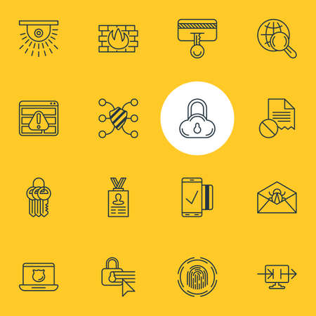 Editable Pack Of Data Security, Camera, Send Information And Other Elements.  Vector Illustration Of 16 Security Icons.