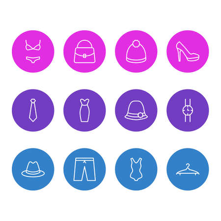 Editable Pack Of Panama, Pompom, Cloakroom And Other Elements.  Vector Illustration Of 12 Garment Icons. Illustration