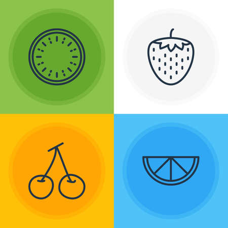 Vector Illustration Of 4 Berry Icons. Editable Pack Of Lime, Morello, Watermelon And Other Elements.