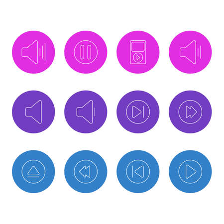 Vector Illustration Of 12 Melody Icons. Editable Pack Of Speaker, Volume Up, Reversing And Other Elements. Illustration