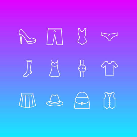 Vector Illustration Of 12 Dress Icons. Editable Pack Of Hosiery, Waistcoat, Panties And Other Elements.