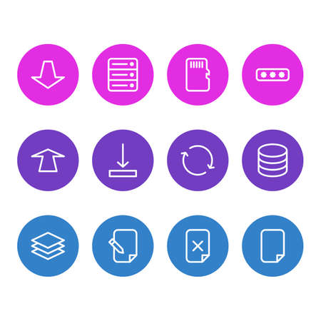 Vector Illustration Of 12 Memory Icons. Editable Pack Of Parole, File, Layer And Other Elements. Illustration