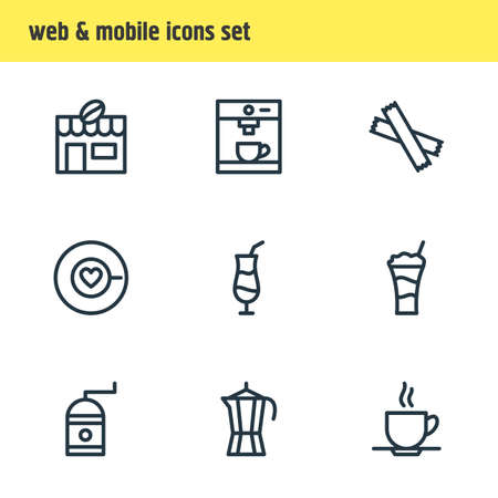 Vector Illustration Of 9 Coffee Icons. Editable Pack Of Cup, Saucer, Coffeemaker And Other Elements.