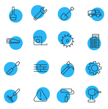 Vector Illustration Of 16 Construction Icons. Editable Pack Of Electric Screwdriver, Spade, Cogwheel And Other Elements.