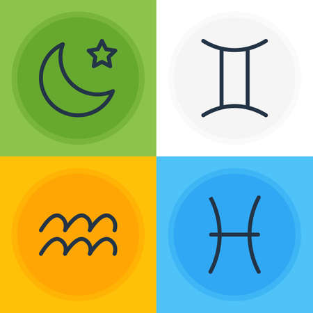 Vector Illustration Of 4 Galaxy Icons. Editable Pack Of Fishes, Water Bearer, Night And Other Elements.