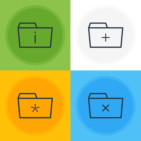 Vector Illustration Of 4 Folder Icons. Editable Pack Of Significant, Plus, Information And Other Elements. 向量圖像