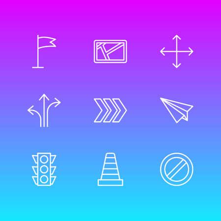Vector illustratie van 9 richting iconen. Bewerkbare pack van pijl, kaart, blok en andere elementen.