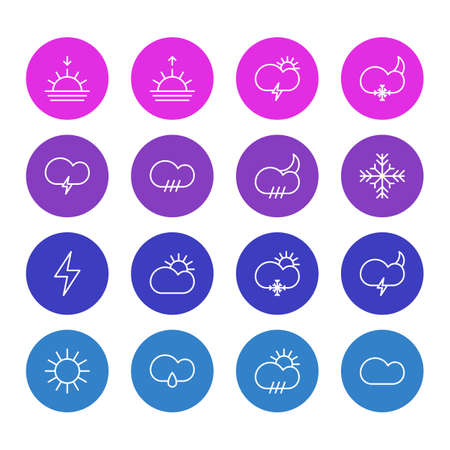 Vector Illustration Of 16 Sky Icons. Editable Pack Of Sunny, Cloud, Sun And Other Elements.