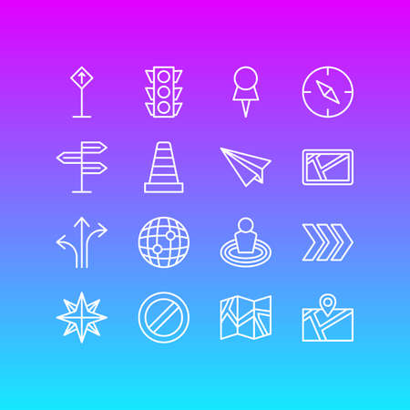 Vector Illustration Of 16 Navigation Icons. Editable Pack Of Arrow, Guidepost, Orientation And Other Elements.