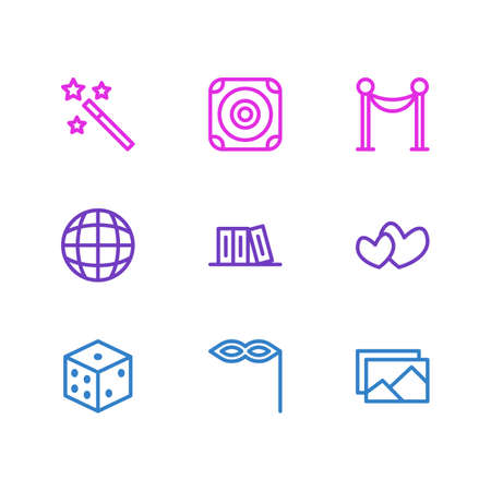 Vector Illustration Of 9 Joy Icons. Editable Pack Of Wizard Stick, Picture, Bookshelf And Other Elements.