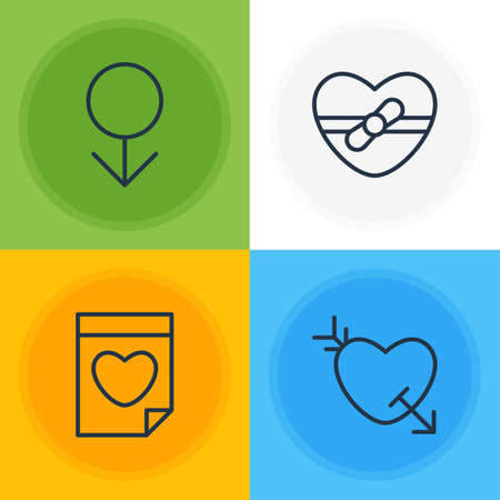 Vector Illustration Of 4 Amour Icons. Editable Pack Of Present, Male, Arrow And Other Elements. Illustration
